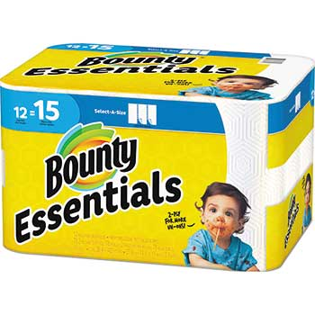 Essentials Select-a-Size Paper Towels, 5 9/10 x 11, 1-Ply, 78/Roll, 12 Rolls/Carton