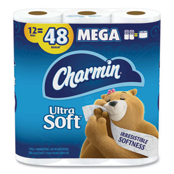 Charmin® Ultra Soft Toilet Paper, Septic Safe, 2-Ply, White, 284 Sheets/Roll, 12 Rolls/PK, 4 PK/CT