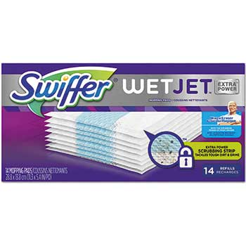"""WetJet System Refill Pads, 11.3"""" x 5.4"""", Extra Power, White, 14/Box"""
