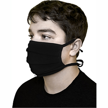Cotton Face Mask, Pleated, Washable, Tied, Black