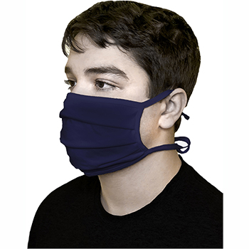 Pongs® Cotton Face Mask, Pleated, Washable, Tied, Blue