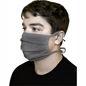 Cotton Face Mask, Pleated, Washable, Tied, Dark Grey
