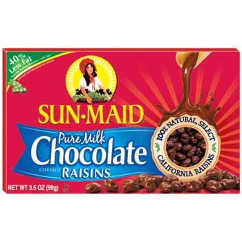 Sun-Maid® Pure Milk Chocolate Raisins, 3.5 oz. Pack, 48/CS