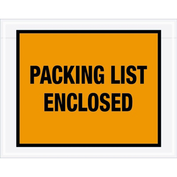 "Packing List EncloseD Envelopes, 7"" x 5 1/2"", Orange, 1000/CS"