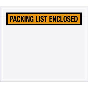 "Packing List EncloseD Envelopes, 7"" x 6"", Orange, 1000/CS"