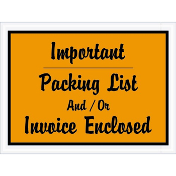 """Tape Logic® Important Packing List And/Or Invoice EncloseD Envelopes, 4 1/2"""" x 6"""", Orange, 1000/CS"""