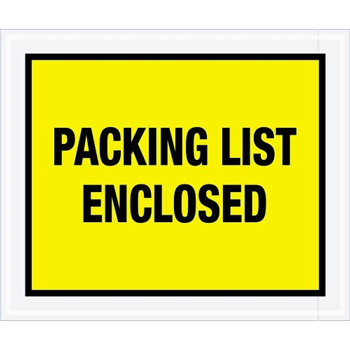"Packing List EncloseD Envelopes, 10"" x 12"", Yellow, 500/CS"