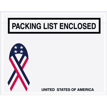 "Tape Logic® Packing List EncloseD Envelopes, U.S.A. Ribbon, 7"" x 5 1/2"", Red/White/Blue, 1000/CS"