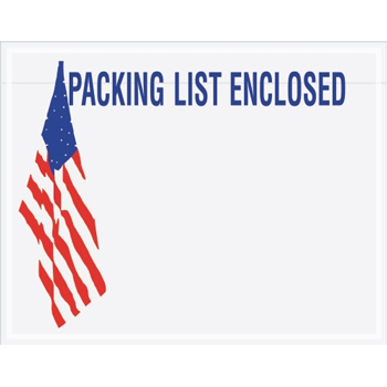 "Packing List EncloseD Envelopes, U.S.A. Flag, 7"" x 5 1/2"", Red/White/Blue, 1000/CS"