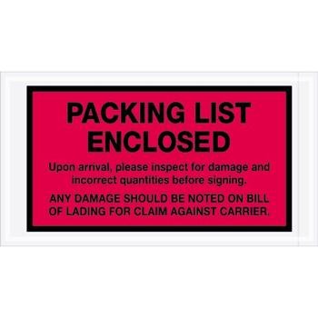 "Tape Logic® Packing List EncloseD Envelopes, 5 1/2"" x 10"", Red, 1000/CS"