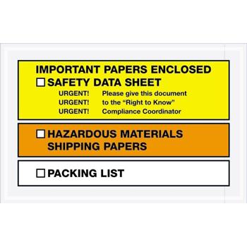 "Tape Logic® SDS Envelopes, Important Papers EncloseD, 6 1/2"" x 10"", Yellow/Orange, 1000/CS"