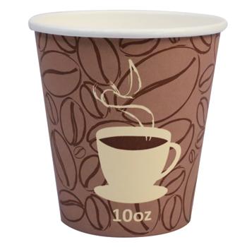 Paper Hot Cups, Coffee Bean, 10 oz. Squat, 1000/CT