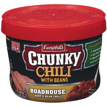 Campbell's® Microwavable Soup Bowls, Chunky™ Roadhouse Beef & Bean Chili, 15.25 oz., 8/CS
