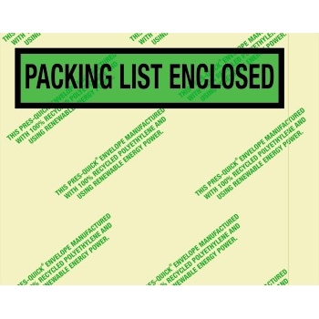 "Environmental ""Packing List Enclosed"" Envelopes, 7 "" x 5 1/2"", Green, 1000/CS"