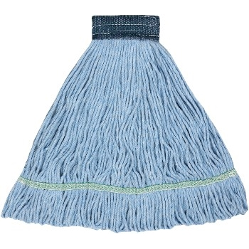"""ABCO Blended Looped End Wet Mops, 24 oz, Blue, 5"""" Headband"""