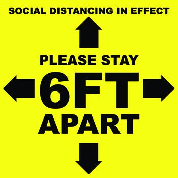 "W.B. Mason Co. Floor Adhesive, ""Please Stay 6 Feet Apart"", Yellow and Black, 12''x12'', EA"