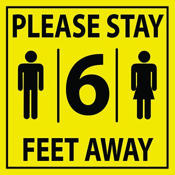 "W.B. Mason Co. Wall/Door Graphic, ""Please Stay 6 Feet Away"", Yellow and Black, 12''x12'', EA"