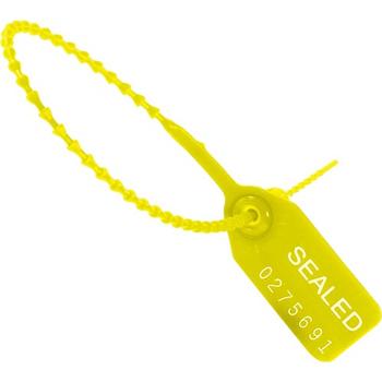 "W.B. Mason Co. Tug Tight"" Pull-Tight Seals, 15"", Yellow, 100/CS"