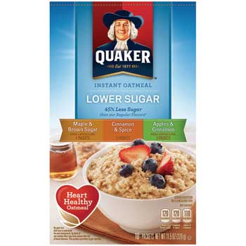 Instant Oatmeal, Lower Sugar Variety Pack, 10/BX