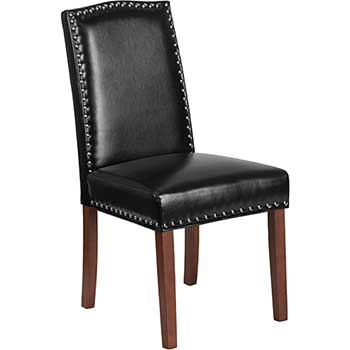 HERCULES Hampton Hill Series Parsons Chair with Silver Accent Nail Trim, Leather, Black