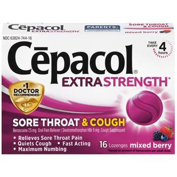 Cepacol® Extra Strength Sore Throat & Cough Lozenges, Mixed Berry, 16/BX