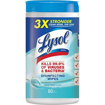 Disinfecting Wipes, Ocean Fresh Scent, 7 x 8, White, 80/Canister, 6/Carton