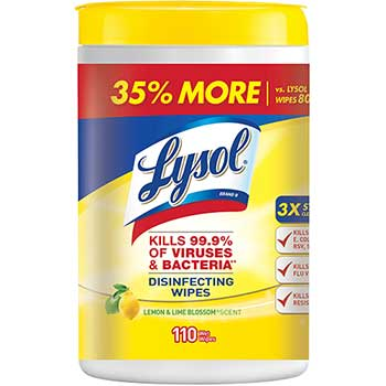 Disinfecting Wipes, Lemon & Lime Blossom, White, 7 x 8, 110/Canister, 6 Canisters/CT