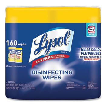 LYSOL® Brand Disinfecting Wipes, Lemon/Lime Blossom Scent, 2 Canisters/PK, 3 PK/CT