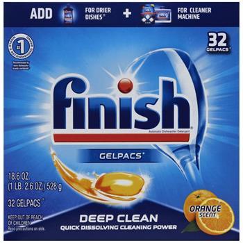 FINISH® Dish Detergent Gelpacs, Orange Scent, Box of 32 Gelpacs