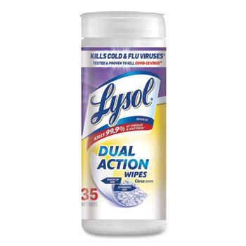 LYSOL® Brand Dual Action Disinfecting Wipes, Citrus Scent, 35/Canister, 12 Canisters/CT