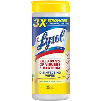 Disinfecting Wipes, Lemon & Lime Blossom, 7 x 8, 35/Canister