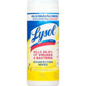 LYSOL® Brand Disinfecting Wipes, Lemon & Lime Blossom Scent, 35/Canister