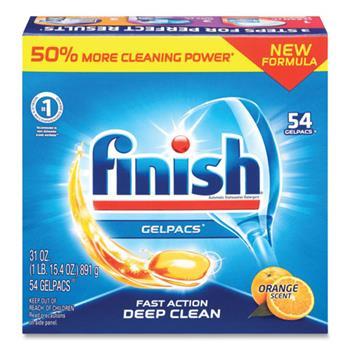 FINISH® Dish Detergent Gelpacs, Orange Scent, 54/BX, 4 BX/CT