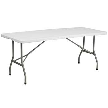 Flash Furniture Bi-Fold Folding Table, Plastic, Granite White, 30'' W x 72'' L
