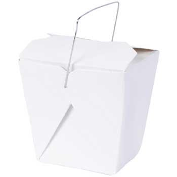 Fold-Pak Food Pail, Chinese, Wire, White, 16 oz., 500/CT
