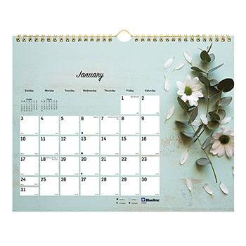 "Blueline® Romantic Monthly Wall Calendar, 8"" x 11"", Classic Floral Design, 2021"