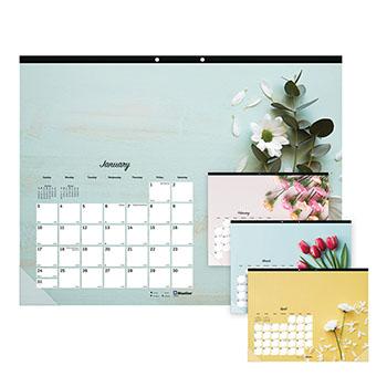"""Blueline® Romantic Monthly Desk Pad Calendar, 22"""" x 17"""", Classic Floral Design, 2021"""