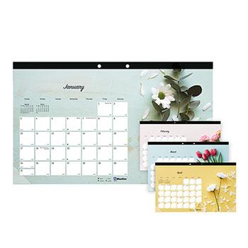 """Blueline® Romantic Monthly Desk Pad Calendar, 17 3/4"""" x 10 7/8"""", Classic Floral Design, 2021"""