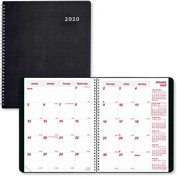 """Brownline® DURAFLEX Monthly Planner, 8 7/8"""" x 7 1/8"""", Heavy Duty Poly Cover, Black, 14 Months, 2019-2021"""