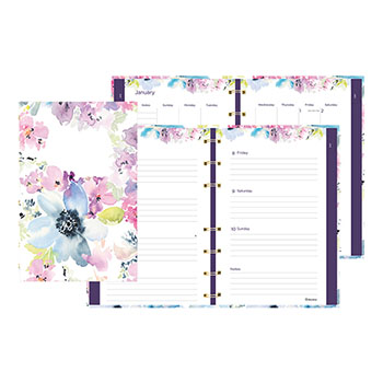 """Blueline® MiracleBind™ Passion, Weekly/Monthly Planner, 8"""" x 5"""", Delicate Floral Design, 2021"""
