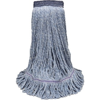 """ABCO Blended Looped End Wet Mop Heads, 32 oz, Blue, 5"""" Headband"""