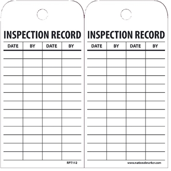 """NMC™ Tags, Inspection Record, 6""""X3"""", Unrippable Vinyl with Grommet, 25/PK"""
