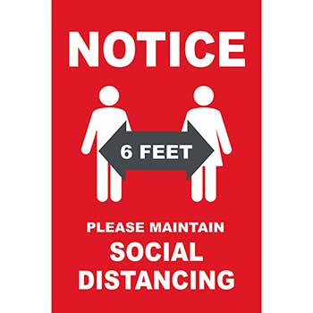 """W.B. Mason Co. Window Cling, """"Notice - Please Maintain Social Distancing"""", 18"""" x 24"""""""