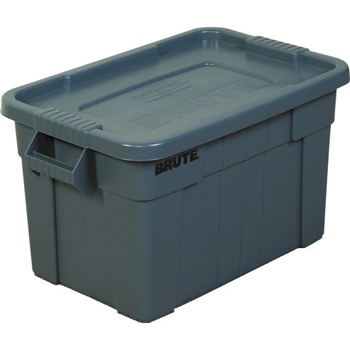 "Brute Totes with Lid, 28"" x 18"" x 15"", Gray"