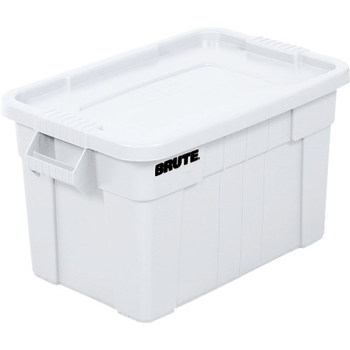 """Brute Totes with Lid, 28"""" x 18"""" x 15"""", White"""