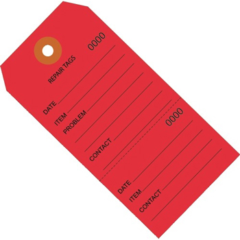 """W.B. Mason Co. Repair Tags, Consecutively Numbered, 4 3/4"""" x 2 3/8"""", Red, 1000/CS"""