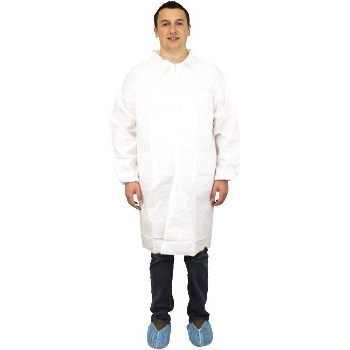 Lab Coat, Polypropylene, White, Elastic Wrists, Large, 30/CS