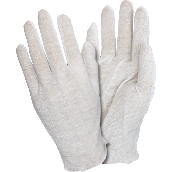 The Safety Zone Cotton Inspection Glove, Mens, Light Wt, White, Unhemmed, 100% Cotton, 12 Pairs