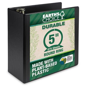 """Samsill® Earth's Choice Biobased Durable Binder, 5"""" Round Ring, Black"""