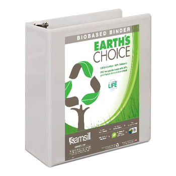 Samsill® Earth's Choice Biobased 3 Ring View Binder, 3 Inch D-Ring, Customizable Clear View Cover, White